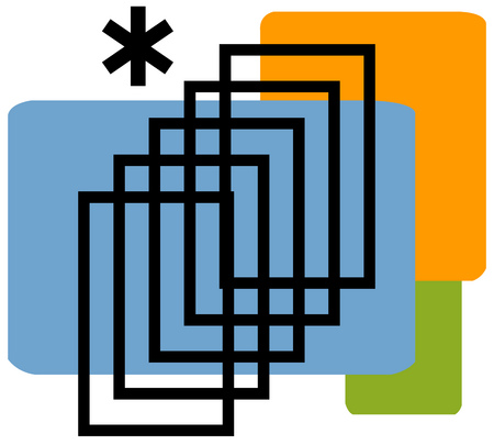 View of concentric rectangles with an asterisk and rectangles in background