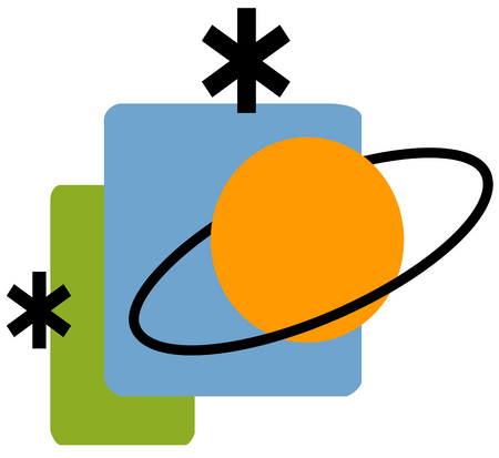 View of a planet with asterisks and rectangles in background