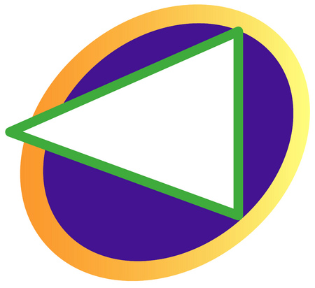 Triangle pointing to the left with circles in background