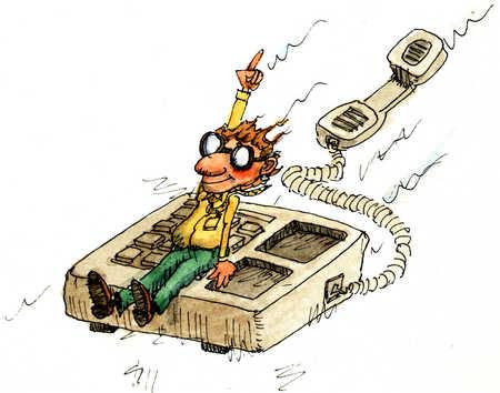 Businessman Sitting On Moving Telephone