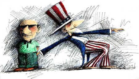 Uncle Sam Digging In Man's Pockets