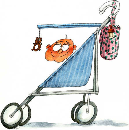 Baby In Baby Carriage With Little Hanging Bear On Stick