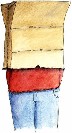 Person With Brown Paper Bag Over Their Head