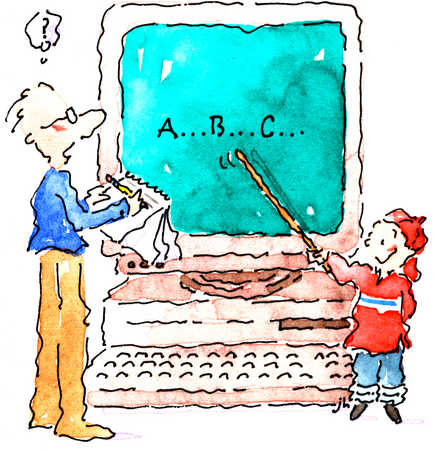 Illustration Source: Little Boy Teaching Adult A, B, C's on Computer (3)