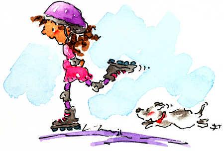 Dog Chasing Girl On Rollerblades