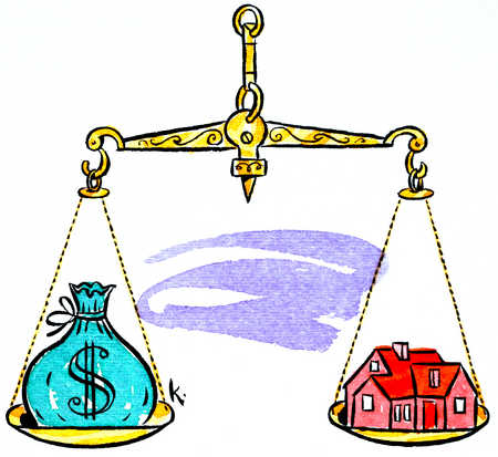 House And Money On Scales