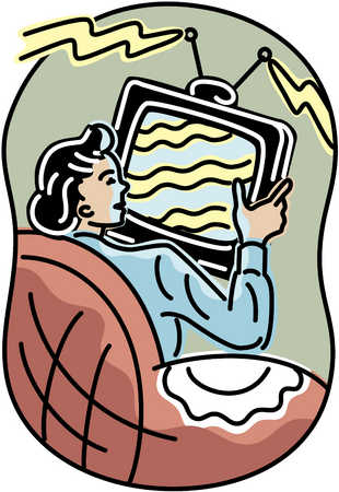 Woman On Couch With TV