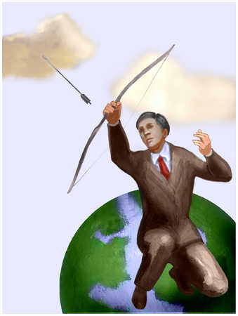 Man Sitting On Globe Shooting Arrow 2