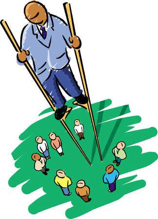 Man On Stilts Above People