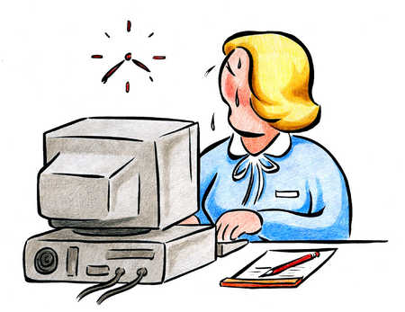 Woman At Computer Sweating