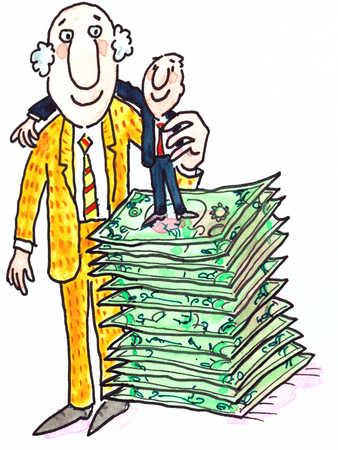 Little Man Standing On Money With Arm Around Big Man