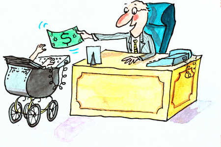 Man Behind Desk Giving Dollar To Baby