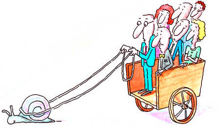 Businesspeople In Carriage Being Led By A Snail