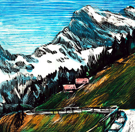 Road And Houses On Mountainside