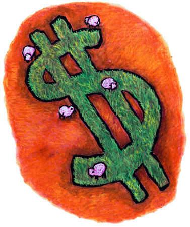 Sheep Grazing On Dollar Sign
