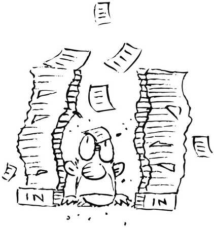 Man with paperwork piled up