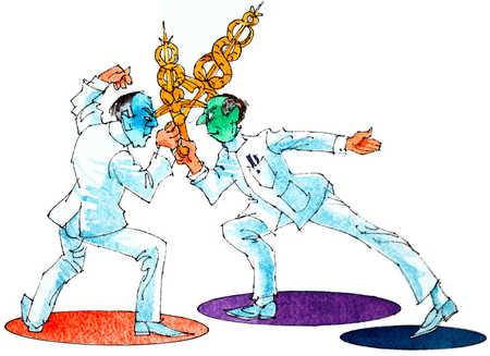 Caduceus Sword Fight Between Doctors