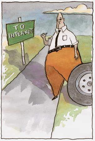 Man Hitchhiking To Internet