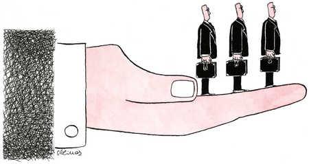 Hand Holding Three Businessmen