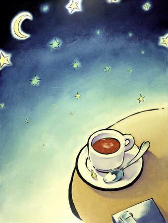 Hot beverage under star filled sky