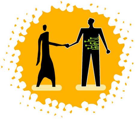Handshake With Technology Figure