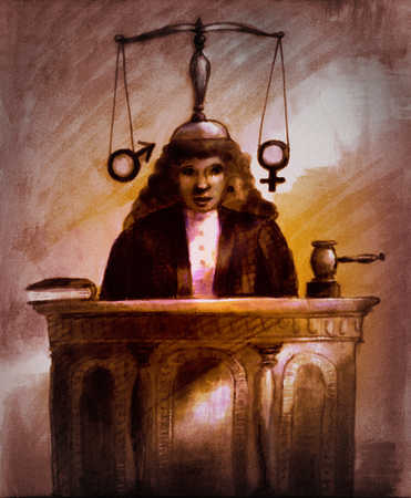 Woman judge with male and female symbols on scales behind her