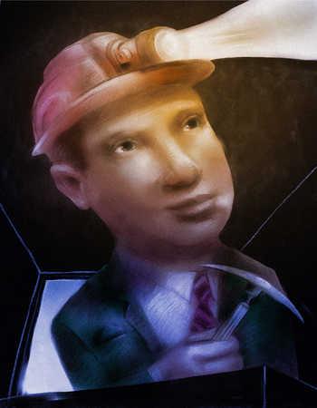 Businessman with lighted helmet entering mine