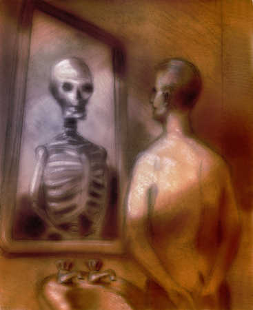 Person looking at a reflection of their own skeleton in a bathroom mirror