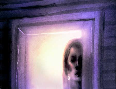 Depressed woman peering through window