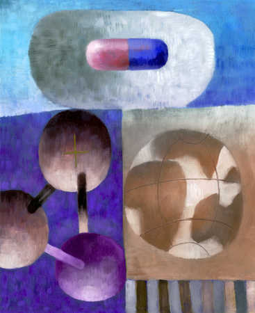 Montage of pill, molecule and globe