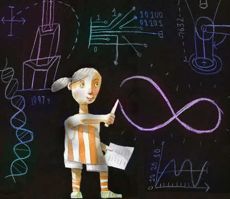 Girl drawing an infinity sign on a chalk board