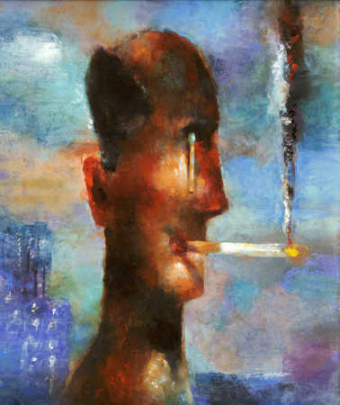 Man smoking a cigarette with a cigarette hanging out of one eye