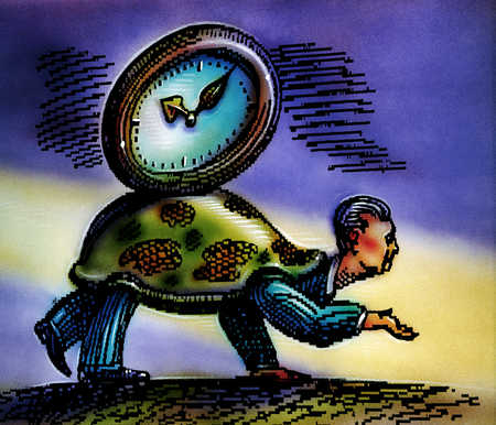 Man in turtle shell with clock on back