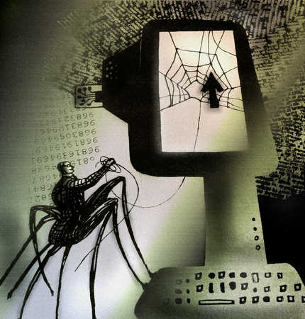 Person shaped as a spider looking at computer screen which displays a spider web