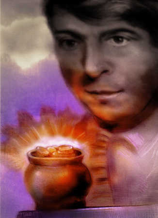 Man looking at pot of gold