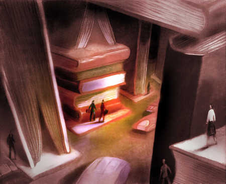 High angle view of two businesspeople wandering around a world made of books