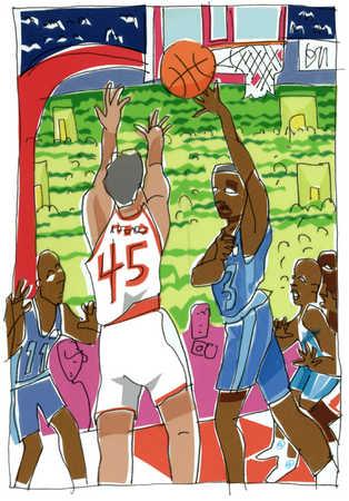 Blocked Basketball Shot