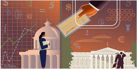 Currency and finance with government buildings