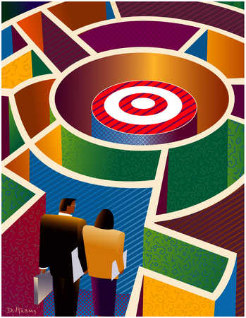 Businesspeople in a maze with a target in the middle