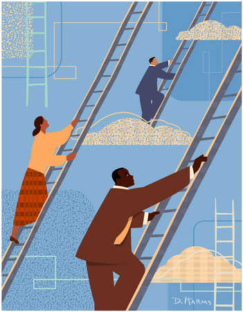 Businesspeople climbing ladders
