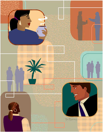 Businesspeople connected