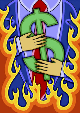 Businessman Holding Dollar Sign In Flames