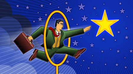 Businessman Jumping Through Hoop To Catch A Star