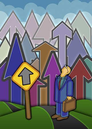 Businessman With Arrows Pointing Upward