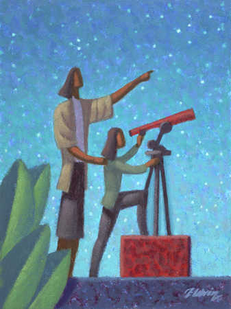 Mother And Daughter Looking At Stars Through A Telescope