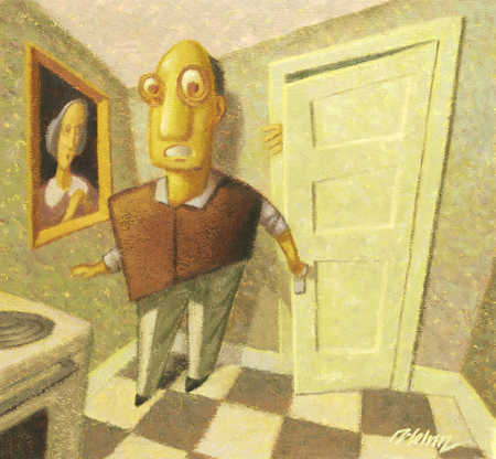 Fearful Man In The Kitchen