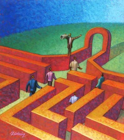 Businessman leading people through a maze