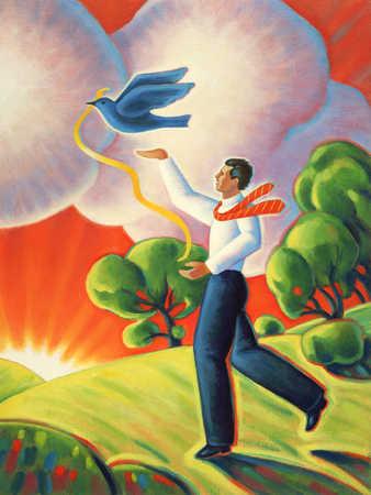 Businessman Releasing Dove