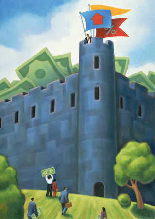 Businessman On Top Of Money Castle