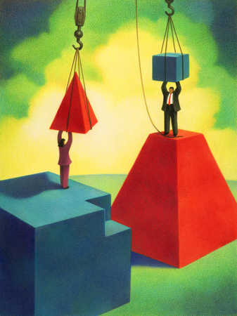 Two Businesspeople With Pieces To Geometric Shapes
